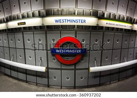 LONDON - October 10, 2014: London Bridge underground sign. London subway system serves 270 stations  - stock photo