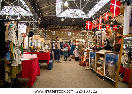 LONDON - OCTOBER 18TH: The interior of the Old Spitalfields Market on October 18th, 2014 in London, England, UK. There has been a market on the site for over 350 years - stock photo