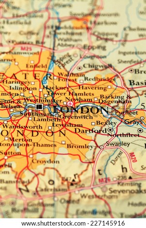 London on atlas world map - stock photo