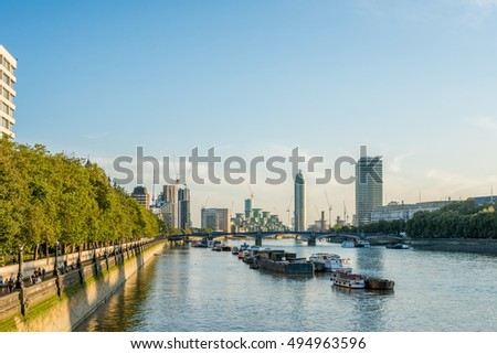 London on the Thames at Golden Hour
