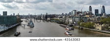 London Panorama from Tower bridge. Belfast ship, boats. - stock photo