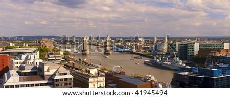 London panorama including Tower Bridge - stock photo