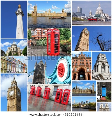 London photo collage - stock photo