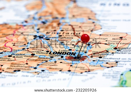 London pinned on a map of europe  - stock photo