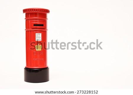 London postbox isolated on white background - stock photo