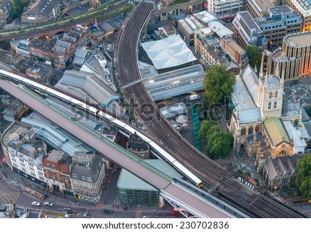 London railway - aerial view.