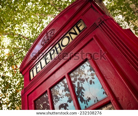 London red payphone telephone booth - stock photo