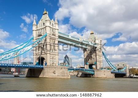 London River Thames and Tower Bridge International Landmark of England United Kingdom - stock photo