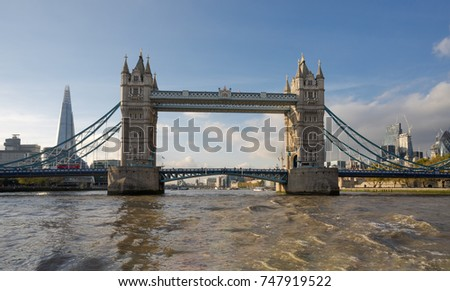 London River Thames autumn skyline