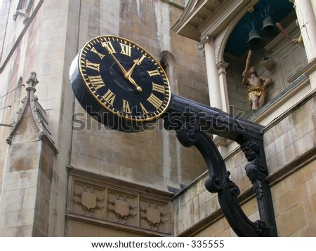 London's oldest public clock with a minute hand, dating back in the 17th century - stock photo
