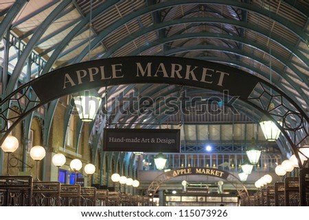 LONDON - SEP 27: Apple market insignia on September 27, 2012 in London. Apple market in Covent Garden is one of the main London attractions. - stock photo