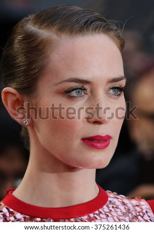 LONDON - SEP 21, 2015: Emily Blunt attends Sicario film premiere on Sep 21, 2015 in London