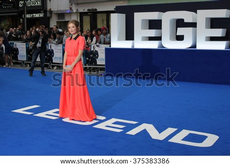 LONDON - SEP 3, 2015: Emily Browning attends Legend - UK film premiere on Sep 3, 2015 in London