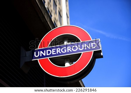 LONDON - SEP 22: London Underground station entrance on September 22, 2014 in London. London Underground is the 11th busiest metro system worldwide with 1.1 billion annual rides. - stock photo