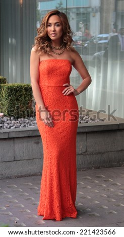 LONDON - SEP  30: Myleene Klass models her new collection for Littlewoods outside the Sanderson hotel on Sep 30, 2014 in London - stock photo