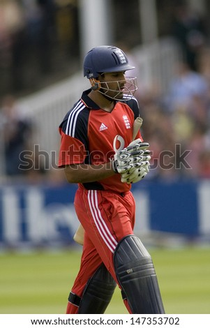 LONDON - 12 SEPT 2009; London England: England team player Ravi Bopara walks off after being dismissed during the Nat West, 4th one day international cricket match  held at Lords Cricket ground