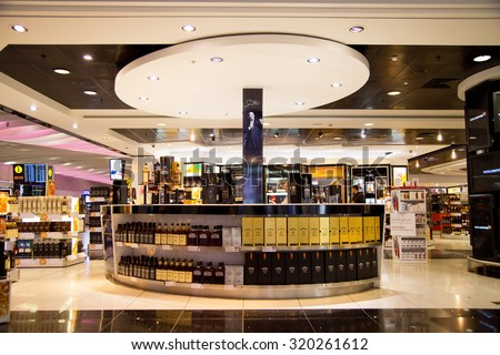 LONDON - SEPTEMBER 5TH: Duty free shop at heathrow airport on September the 5th, 2015 in London, england, uk. Heathrow is one of the busiest airports in the world - stock photo
