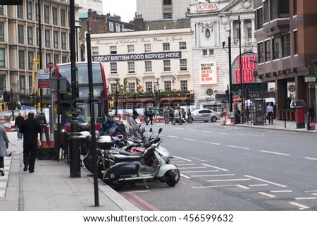 LONDON - September 1, 2015: View of Victoria Street, City of Westminster, London, UK - stock photo