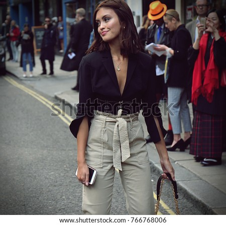 LONDON- 17 September 2017 Woman on the street during the London Fashion Week