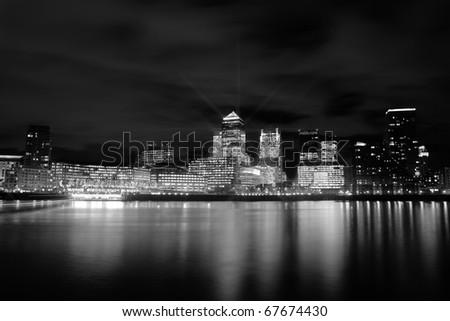 london sky line night time - stock photo