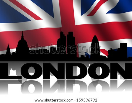 London skyline and text reflected with rippled British flag illustration - stock photo
