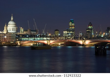London skyline at night, United Kingdom - stock photo