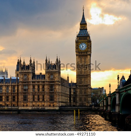London skyline at sunset. - stock photo