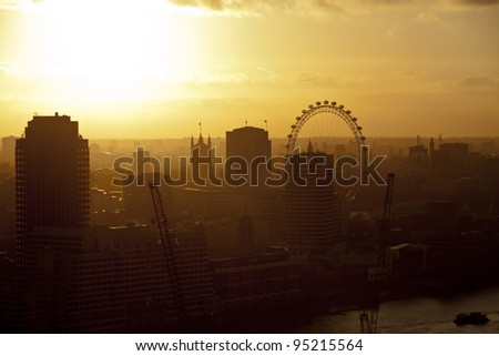 london skyline at sunset - stock photo