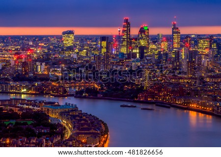 London skyline at sunset, aerial view with landmarks
