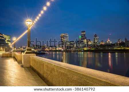 London Skyline From The South bank Of The Thames - stock photo
