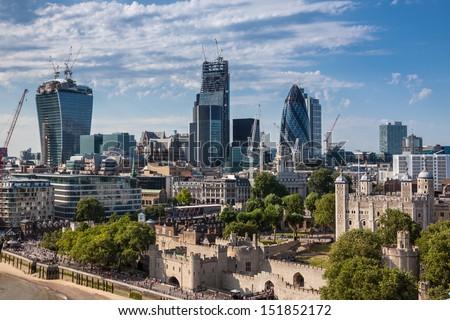 London skyline from the Tower Bridge - stock photo