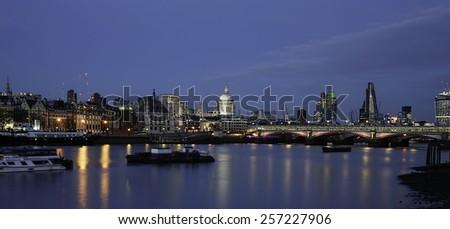 London skyline, include Blackfriars Bridge, St Paul's, Gherkin, seen from Waterloo Bridge - stock photo