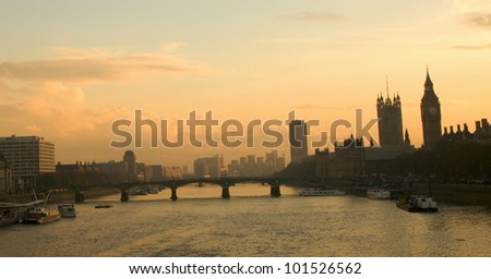 London skyline seen from Waterloo Bridge. London is the capital city of UK with over 7 million residents. - stock photo