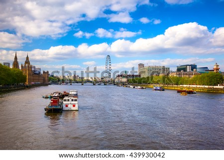 London skyline, Westminster Palace seen from South Bank in Uk. - stock photo