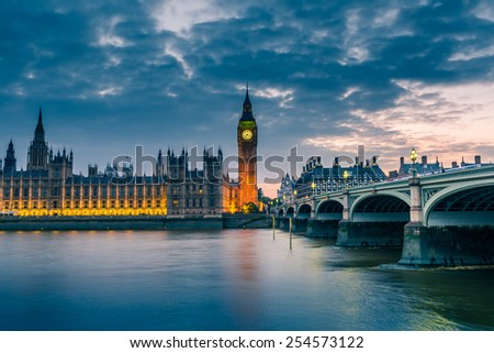 London skyline with Big Ben and Westminster Bridge at dusk, London, UK - stock photo
