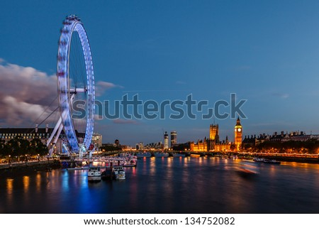 London Skyline with Westminster Bridge and Big Ben in the Evening, United Kingdom - stock photo