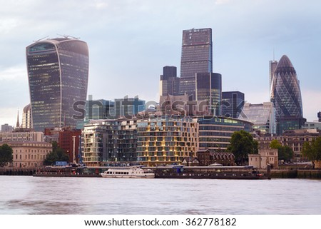 London skyscrapers skyline view at sunset with Thames river, evening - stock photo