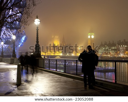 London Southbank on a foggy night - stock photo