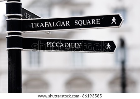London Street Signpost with Trafalgar Square and Piccadilly - stock photo