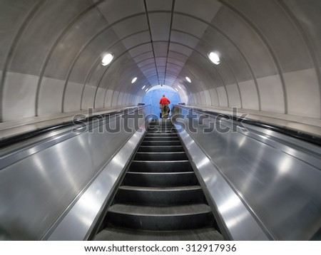 London subway escalators - stock photo