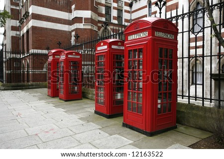 london telephone boxes. - stock photo