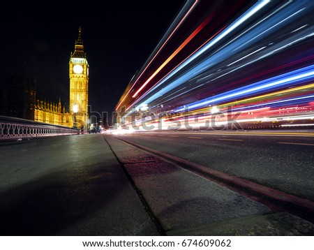 London, the big ben photographed at night on the long-term exposure