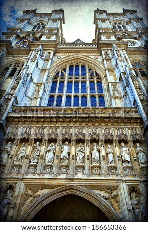London, the exterior of Westminster Abbey - stock photo