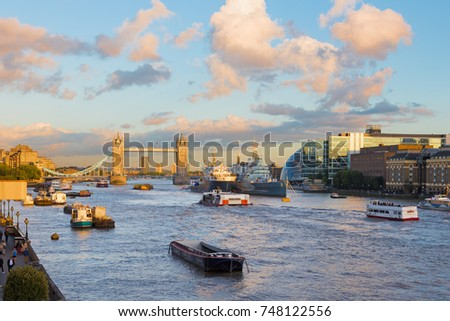 London - The Tower Bride and riverside of Thames in evening light.