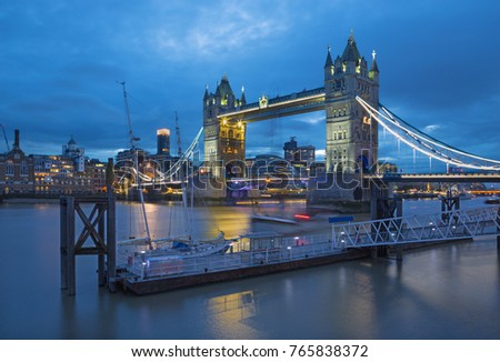 London - The Tower Bridge from Katharine pier at dusk.