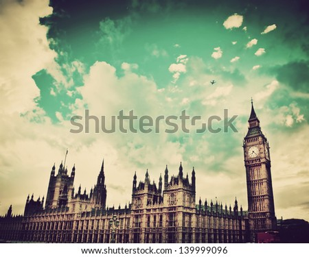 London, the UK. Big Ben, the Palace of Westminster. The icon of England in vintage, retro style - stock photo