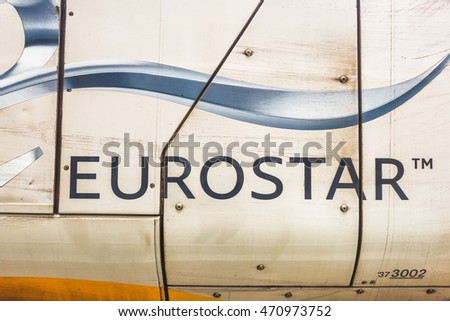 LONDON,THE UK-CIRCA MAY 2016: Eurostar train at St Pancras station