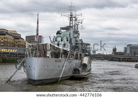 LONDON,THE UK- CIRCA MAY 2016: HMS Belfast museum ship on the Thames river