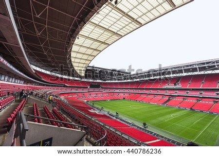 LONDON,THE UK-CIRCA MAY 2016: Visiting Wembley stadium - the central city arena