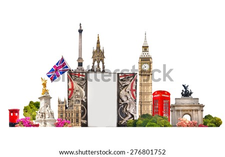 London. Tourist and business collage, London's famous buildings against of white background - stock photo